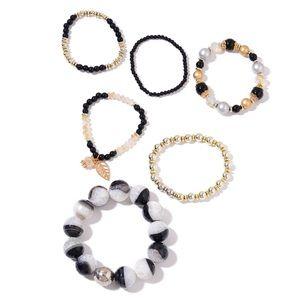 Set of 6 White and Black Agate Enhanced Bracelet